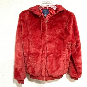 FOREVER 21 faux fur red orange hooded teddy jacket size small